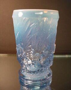 Duncan Miller Glass Blue Opalescent Footed Sculptured Chanticleer Vase Art Deco