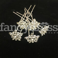 5pcs Crystal Diamante Simple Flower Hair Pins Grips Bridal Wedding Prom NEW