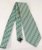 DONA Hand Made 100% Silk Green Blue Yellow Print Necktie NR