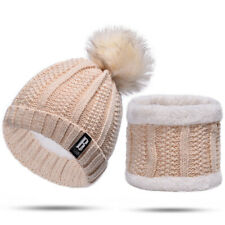 UK Women Winter Warm Knitted Cap And Bib Cute Pompoms Beanie Hat With Scarf