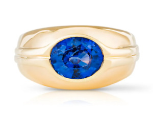 BVLGARI Blue Sapphire Ring 18k Yellow Gold UK Size M with Gem Certificate