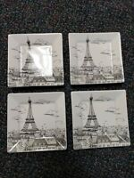 4 Square Dessert SNACK Trinket Plates by 222 FIFTH Eiffel Tower Paris Indonesia
