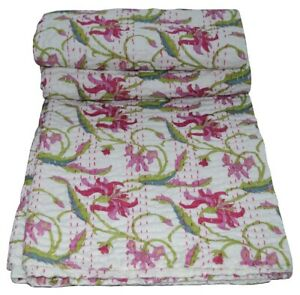 Indian Kantha Quilt Throw Pink Bedspread Twin Queen Hand Block Print Pure Cotton