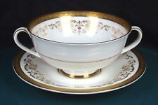 Royal Doulton Belmont Gold Soup Coupes & Saucers 1st Quality Excellent Condition