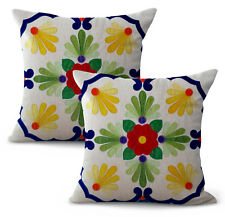 Us Seller- set of 2 Mexico flower art design cushion cover decorative throw