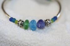 Genuine sea glass bracelet green blue and aqua sea glass 925 sterling silver