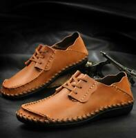 Men's Lace Up Moccasins Leather Driving Boat Loafer Slip On Sneakers Shoes Zhou8