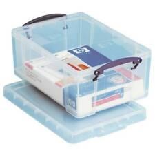 """Really Useful Box Plastic Storage Box, 9 L, 10 1/4"""" x 14 1/2"""" x 6 1/4"""", Clear"""