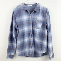 Maurices Blue Plaid Button Front Soft Flannel Shirt Womens Size Large