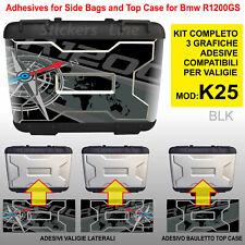 Kit 3 adesivi borse valigie K25 BMW R1200GS bussola + planisfero fino a 2012 BLK