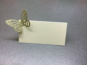 10 Ivory Name Place Cards With A Gold Glitter Butterfly