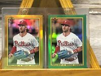 🔥⚾️🔥 2020 Bowman Chrome Bryce Harper 1990 Gold Green Two Card Lot 🔥⚾️🔥 S#!!!