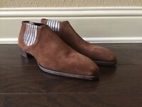 NWOB Gaziano Girling Suede Alligator Fairbanks Boots Deco UK 9E Made England