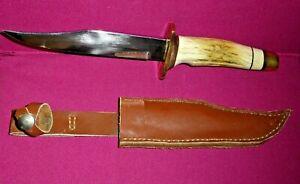 FIXED BLADE HUNTING KNIFE BONE HANDLE CUSTOM MADE WITH LEATHER SHEATH