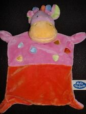 doudou plat girafe rose et orange MOTS D'ENFANTS