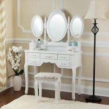 Toeletta Tavolo da trucco Cosmetici Tavolino con sgabello e specchio, bianco
