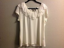 Milano ladies XL polyester knit pullover top with cap sleeves and ruffled yoke