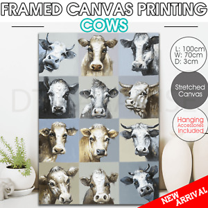 canvas print stretched framed Wall art home decor painting cows 100*70