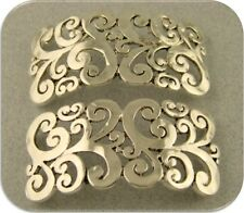 2 Hole Beads Rococo Baroque Filigree Pattern Bangle/Cuff Bars ~ Sliders QTY 2