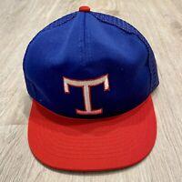 Vintage Texas Rangers Hat RARE MLB Baseball Snapback VTG 90s Blue Red Cap