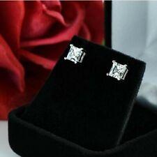 Certified 2.00 Ct White Princess VVS1 Diamond Stud Earrings Real 14K White Gold