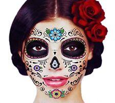 Tatuaje Temporal Facial Calavera De Azúcar Máscara Disfraces Halloween Zombie