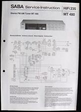 SABA HiFi 235 -AM FM Tuner MT 480 Schaltbild Ersatzteilliste Service-Instruction