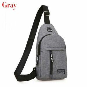 Male Women Nylon Sling Bag Crossbody Outdoor Sport Shoulder Chest color gray