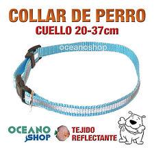 COLLAR PERRO AZUL TEJIDO REFLECTANTE AJUSTABLE DE CALIDAD CUELLO 20-37 L64 2831