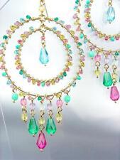 EXQUISITE Blue Topaz Pink Aquamarine Multi Crystals Gold Chandelier Earrings ER6