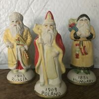 Bisque Santa Figurines Around the World Poland Russia Hungary Set of 3