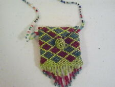 Beaded Necklace Pouch Purse Pill Box Medicine Bag Glass Seed Beads Retro Hippie