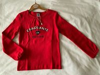 NEW With Tags French designer Petit Bateau girls red long sleeve top 6 yrs