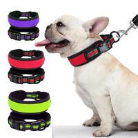 Nylon Reflective Small Large Dog Collar Adjustable Soft Padded Bulldog Labrador