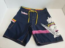 LRG L-R-G Roots And Equipment Swimming Trunks Swimsuit Mens Adult 32 Blue HTF