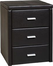 Prado 3 Drawer Bedside Chest in Espresso Brown PU Leather - Free Delivery