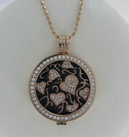 STUNNING MI MILANO NECKLACE/PENDANT/KEEPER/LOCKET SET/CRYSTAL COIN/MONEDA ROSE