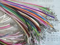 """10 Handmade Faux Leather Necklace Cord~ Fine Smooth Braid,Mixed colours 17-18"""""""