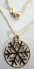 LOVELY 18K GOLD PLATED STERLING SILVER SNOWFLAKE PENDANT ON A 18 INCH CHAIN