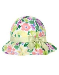 GYMBOREE FIRST PICNIC GREEN FLORAL SUN HAT 0 3 6 12 18 24 NWT