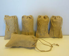 """5 BURLAP JUTE SACKS WITH DRAWSTRINGS 6"""" BY 10"""" WEDDING PARTY FAVOR GIFT BAGS"""
