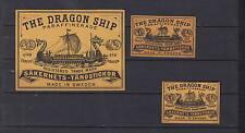 Ancienne  étiquette    allumettes  Suède  AZ3923  Drakar Bateau 2