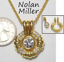 Signed NOLAN MILLER Pendant Necklace, Crystal Circle w/Detachable Solitaire, GP