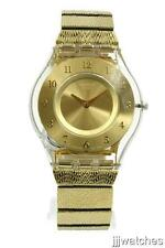 New Swiss Swatch Skin Warm Glow Steel Gold Bracelet Watch 35mm SFK355G $125