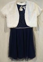 Speechless Special Occasion Dress/Fur Shrug-Navy Blue Lace/Silver/White-Sz 14