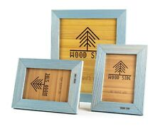 Rustic Wood Picture Frames, 3 Pack - One 8 x 10 and Two 4 x 6 Photo Frame, Blue