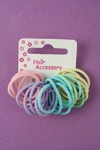 20 Girls Pastel Small Thin Hair Elastics baby girls kids mini hair elastic bands