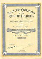 Constructions d`Appareillages et de Specialites Electriques SA, accion, 1928