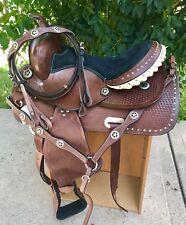 "15"" Black Bling Medium Dark Oil Western Adult Trail Barrel Racer Saddle 4pc SET"