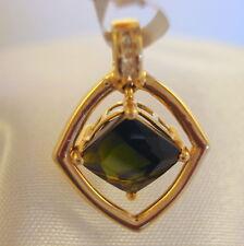 2.48ct Certified Brazilian Green Tourmaline & Diamond Gold Pendant